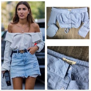 Tops - Off The Shoulder Cotton Stripe Button Up Top ML H5